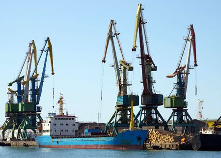 seaports: Ship in seaports beside quay