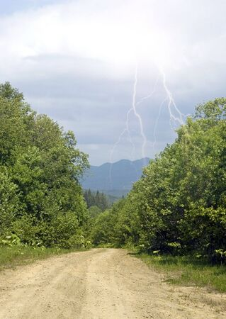 sakhalin: Road to taiga and lightning Stock Photo
