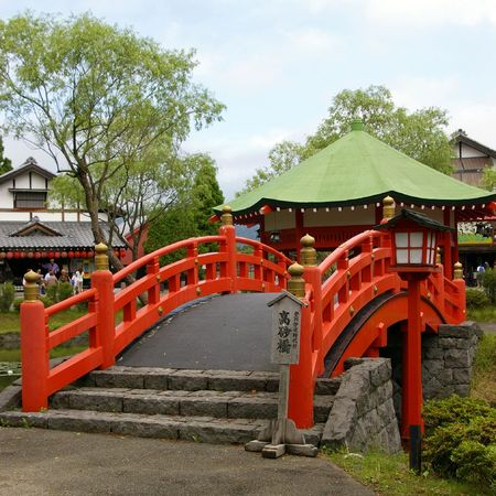 Bridge in old-time japanese style. Japan,island Hokkaido, Village Samurai.   Stock Photo