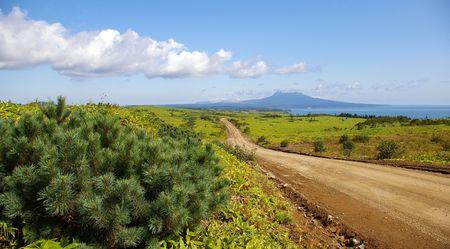 insular: Road to vulcan Mendeleev on island Kunashir