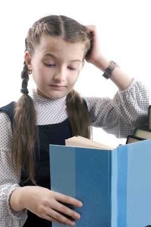 girl with a wristwatch: girl with the book thinks