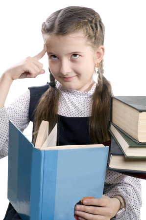 expressional: girl reads the surprising book and thinks Stock Photo