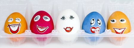 Funny eggs in a support photo