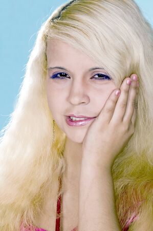 girl the blonde suffers from a toothache     Stock fotó