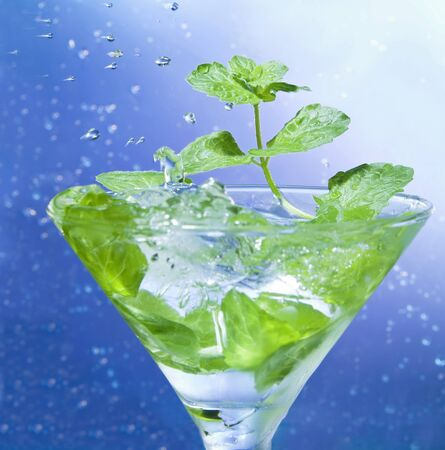 freshening: Mint in a glass with ice
