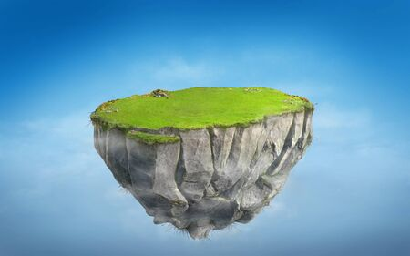 3D fantasy floating island with green grass land on blue sky, surreal float rock mountain with paradise concept 3d illustration