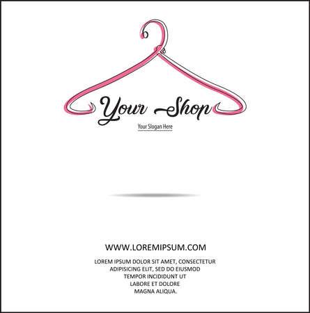 Fashion shop logo - Clothes hanger logo vector set design. illustration of a minimalist logo design can be used for women's clothing products, symbols, online shop, boutique