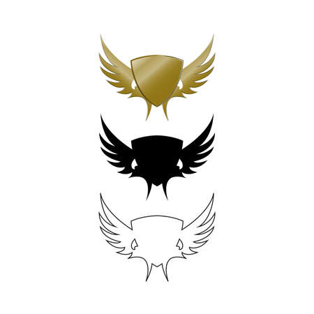 Exclusive logo design illustration for the company. Shied and wings