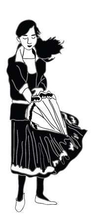 The girl with the umbrella. Black and white vector illustration