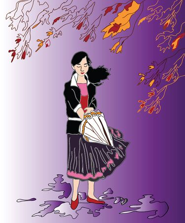 The girl with the umbrella. Vector illustration
