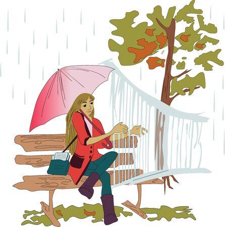 若い人は雨の中で女の子を楽器で演奏します。色付きのモダンなベクトルパターン。