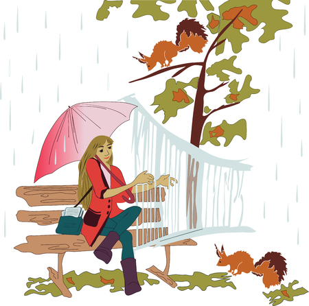 Girl plays and sings in rainy weather