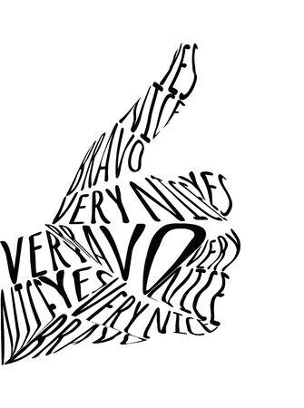 Call to action, hand meaning OK symbol pattern design. Ilustração