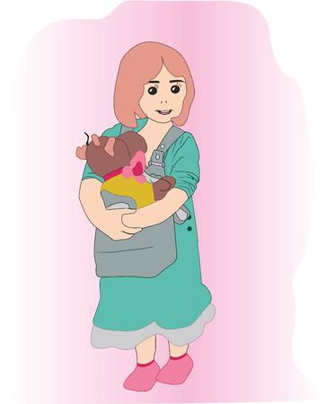 beautiful, modern girl and toy. colored illustration in pink color 版權商用圖片