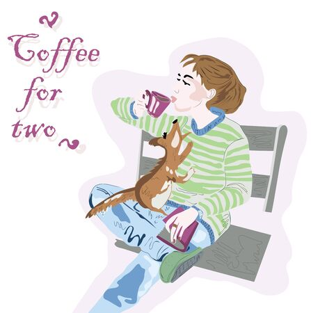 coffee for two. young girl on a bench with a squirrel. colored illustration Stok Fotoğraf