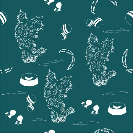 A small, beautiful, cute dogs and food. childrens pattern of white, favorite dogs on shaded spruce background.
