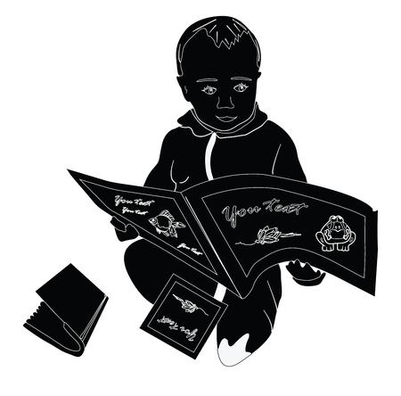 Divertenti libri per bambini e neonati. Vector l'illustrazione in bianco e nero su una priorità bassa bianca Archivio Fotografico - 93080488