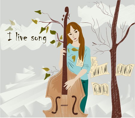 beautiful, interesting music. girl playing a musical instrument. Abstract colored vector illustration for design