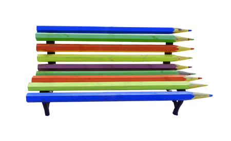 wooden bench to rest, bench made of pencils. bench from pencil, color photograph on white background