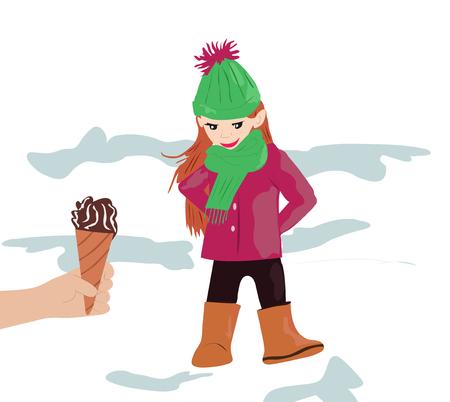 美しい、甘い女の子と甘い、クリーミーなアイスクリーム。おいしい、色の子供のためのプラズドニチニー食品、子供、デザインのためのベクトル