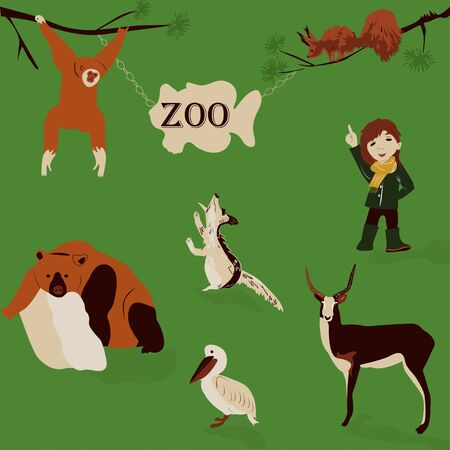 A cheerful, summer walk of a beautiful girl in nature in a green zoo. modern, vector illustration in retro style with wild animals: squirrel, bear, deer, Heron, monkey, bird, marmot.