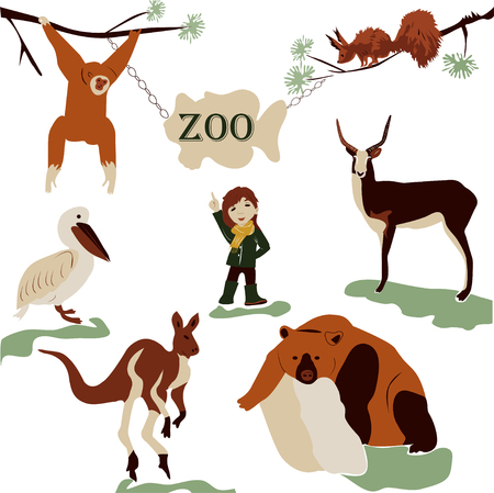 A cheerful, summer walk of a beautiful girl in nature in a green zoo. modern, vector illustration in retro style with wild animals squirrel, bear, deer, heron, monkey, bird, marmot.