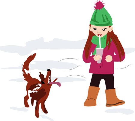 fun walk, fun little girl with a beautiful dog. sweet, beautiful girl drinks a delicious, sweet drink, a cocktail through a tube. modern, children, vector illustration of a girl with a pet for design