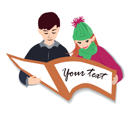 A cheerful boy and a beautiful girl teach lessons or read book together.  color vector illustration of kids with a book on a white background