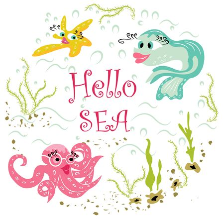 beautiful, modern animals in cartoon style under sea water:  fish, octopus, starfish. cute sea animals and wildlife in a flat, modern style. colorful, vector illustration for design works
