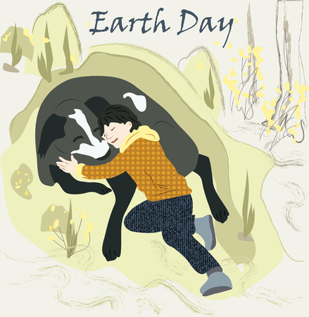 Happy boy with a big dog in the forest,cute cartoon vector illustration for presentation, website cover, banner or poster, international day of forest. 일러스트