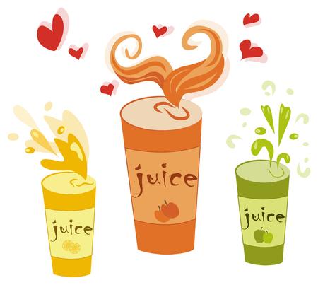 vector set of juice cups.