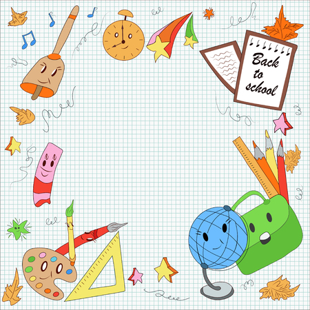 first school day, school items: globe, pencils, pen, brushes, paint, leaves, school bag, cute stars. modern, color, hand drawn vector illustration in cartoon style for  text
