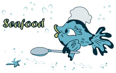 Cute sea fish cook with spoon and Shaka.