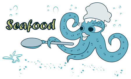 Modern, color image with octopus and spoon in cartoon style.