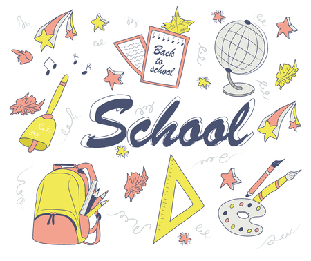 Hand - drawn school items for children: ruler, backpack bag, paint, brushes, globe, yellow leaves, stars, notebook. color, vector illustration of school subjects for design Stock Vector - 100657991