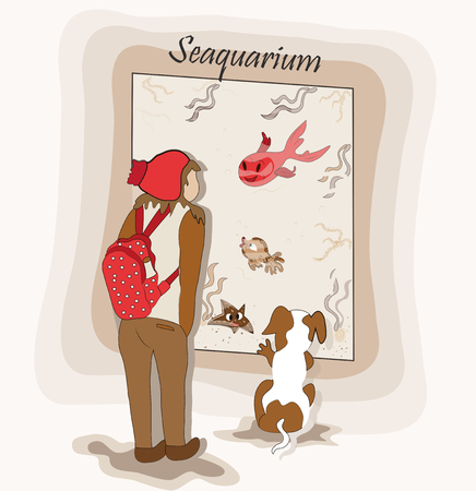 Cheerful girl with her beloved dog watching aquarium fish. modern hand-drawn illustration of a child with a friend and marine animals in cartoon style