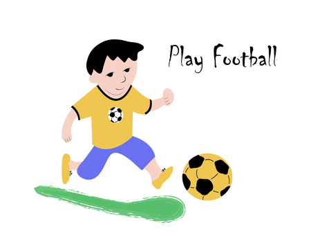 cute, young football player prepares the ball for the game. Hand-made, modern vector art work in cartoon style for t-shirt, Billboard, bag design