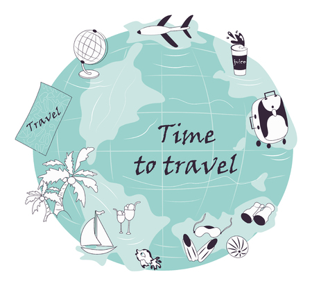 vector tourist set: plane, palm trees, sailboat, globe, map for the traveler, binoculars, ball, sea fish, fins, mask for swimming. Modern hand-drawn objects for the traveler. Ilustrace