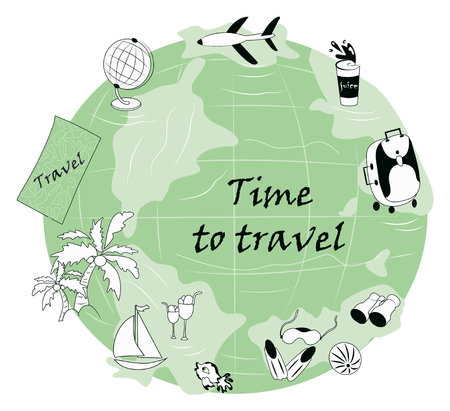 Vector tourist set: plane, palm trees, sailboat, globe, map for the traveler, binoculars, ball, sea fish, fins, mask for swimming. Modern hand-drawn objects for the traveler.