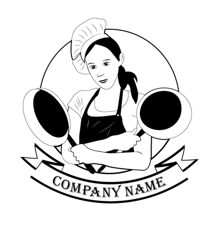 modern, pretty girl with a frying pan on white background. food, kitchen, logo for restaurants, bars, pancake. place for text with company name, vector graphics for design 向量圖像