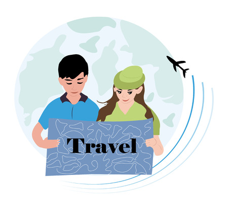 a beautiful girl and a cheerful boy are considering a travel map. hand-drawn vector illustration of kids summer vacationer