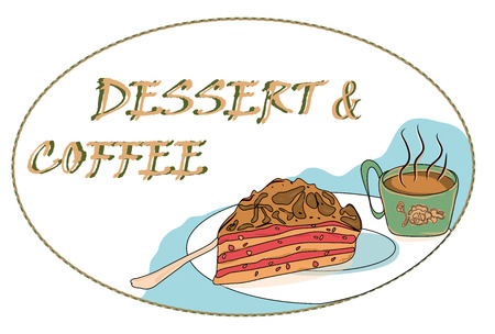 sweet, delicious dessert: a Cup of black, hot coffee and a cake with cream. hand-drawn, vector illustration for coffee design, shops, bars Standard-Bild - 104844149