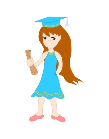 cute schoolgirl with a scroll, text in her hands in cartoon style. hand-drawn girl walking to school on isolated white background Illustration