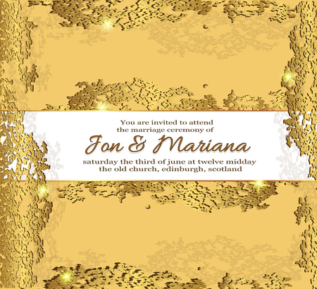 wedding invitation, card with abstract background. abstract background with frame and text in gold wedding tones.