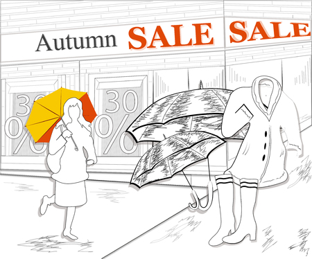 creative banner and poster for the autumn sales. poster, advertising for the sale of autumn things, shoes, clothes. hand drawn vector illustration for clothing store design 일러스트