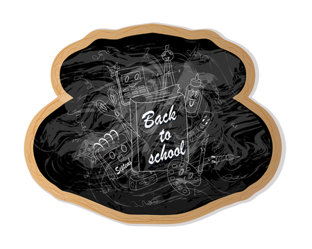 unusual chalk inscription back to school on a black Board. modern design element for advertising of sales of school items, posters, decals, school. hand-drawn vector illustration