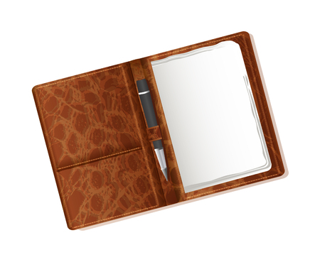 realistic layout blank leather notebook and pens for your corporate style, texts, labels. brown, leather, vector set for business on white background.
