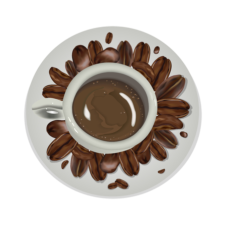 A Cup of Coffee and saucer, top view, realistic vector. realistic Cup with coffee and coffee beans on white background Ilustração