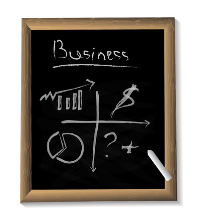 background black Board with business symbols, signs. hand-drawn chalk business symbols: charts, arrows, signs. black Board with chalk and symbols for the background