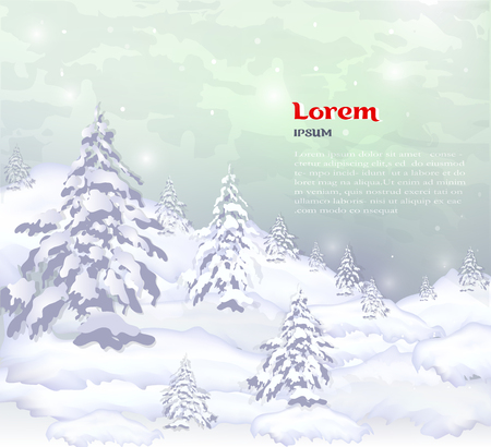 realistic composition of winter forest and white snow. vector banner, web header of winter pines, trees and white snow. realistic winter background with text.  イラスト・ベクター素材